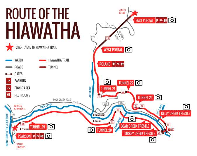 Rails To Trails Idaho Map.Route Of The Hiawatha Official Website The Trail Trail Maps